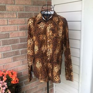 Jones New York leopard print button down